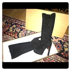 Louboutin knee high suede boots 38.5